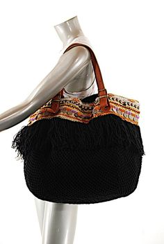 bb07a8cdb0dc Black Multi Tote W Leather Strap + Bead Trim Black with Multicolor Fishnet  Leather Satchel 66% off retail