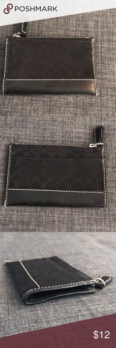 Authentic COACH card cash keychain Black signature C business card case keychain, never used, perfect condition Coach Accessories Key & Card Holders