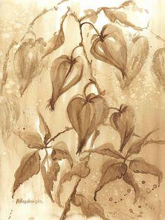 Jesienna kompozycja - watercolour painted with coffee - Maria Roszkowska
