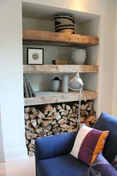 brennholz richtig lagern wohnzimmer nische