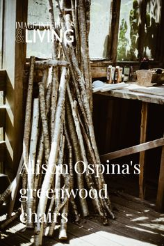 From her eco-friendly workshop in a corner of West Cork, Alison Ospina creates chairs from Irish greenwood that are equal parts raw and refined. #greenwood #greenwoodchairs #irishcraft #westcork West Cork, Irish Design, Eco Friendly, Workshop, Chairs, Corner, Atelier, Tire Chairs, Stool