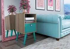 Accenuations Abisko Stylish Side Table with 1- Cubby and 1-Drawer in Oak and Aqua