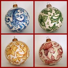 Messina italian ceramic decoration - Christmas ornaments: set of four balls. More Sicilian art ornaments.