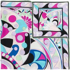 Emilio Pucci Printed Scarf ($334) ❤ liked on Polyvore featuring accessories, scarves, emilio pucci, emilio pucci scarves, colorful scarves, silk scarves and multi colored scarves