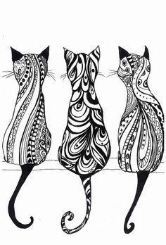 Items similar to Drei Katzen, A4 Monochrom Drucken der Originalzeichnung on Etsy