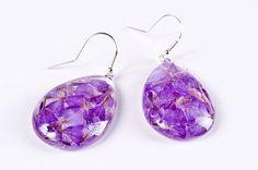 Violet flower earrings - Sterling silver earrings with violet flowers in clear resin