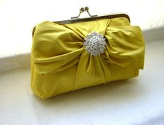Yellow Bridal Clutch Purse with Crystal by JuliaSherryDesigns, $85.00