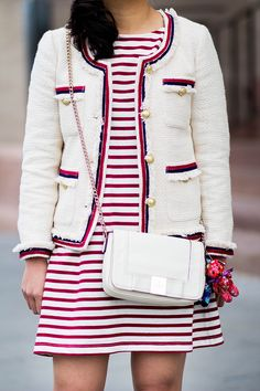 Tweed Jacket and Striped Dress