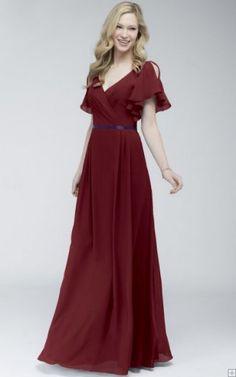 Short Sleeves Natural V-neck Chiffon Floor-length Bridesmaid Dresses