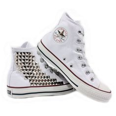 Studded Converse Pyramid studs with converse White high top by CUSTOMDUO on  ETSY ( 125) c5aaefa84