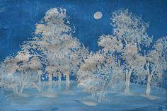 Иней. Рисование зимнего пейзажа в нетрадиционной технике поэтапно с фото для детей