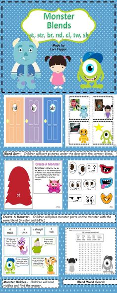 Your children will love this monster themed blend center. Perfect for Word Work.