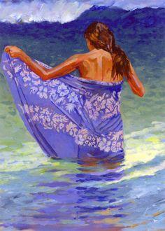 Contemporary Painting - Blue Pareau (Original Art from Michael Hallinan Studio)