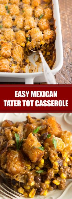 Our yummy Mexican tater tot casserole is an easy and hearty meal that your whole family will love! This delicious taco-inspired tater tot ca. Tater Tot Recipes, Beef Casserole Recipes, Ground Beef Casserole, Tator Tot Casserole Recipe, Hamburger Casserole, Hamburger Recipes, Chicken Casserole, Chicken Recipes, Sweet Potato Tater Tots