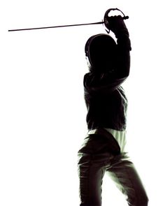 Fencing sabre: defence position (fifth) for a head cut. Olympic Fencing, The Fencer, Fencing Sport, Backyard Sheds, Kendo, Pose Reference, Martial Arts, Poses, Portrait