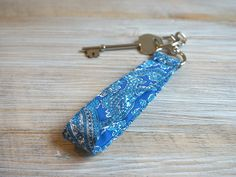 Blue Keychain Fob - Paisley Keyring - Blue Paisley Key Chain - Wristlet Key Ring with Snap - Personalized Key Fob by theWatermelonDesign on Etsy