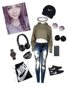 """""""Sporting it"""" by depression-of-a-lost-girl ❤ liked on Polyvore featuring NIKE, Nike Golf, Beats by Dr. Dre, Monki and Marc Jacobs"""
