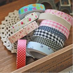 fabric tape. Beautiful patterns on ribbons and different tapes