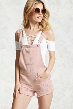 Frayed Overall Shorts