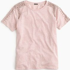 """J.Crew beaded shoulder t-shirt We added cool metallic beads to the shoulders and arms of this supersoft heathered T-shirt for a new take on a forever favorite.  Cotton/poly. Hand wash. Slightly loose fit. Body length: 23 1/2"""".  No trades. All sales final. J. Crew Tops Tees - Short Sleeve"""