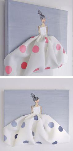 Little Princess in Polkadots - hand painted canvas, pink nursery, nursery…