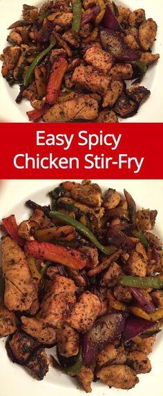 Easy Spicy Chicken Stir-Fry Recipe | http://MelanieCooks.com