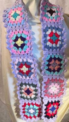 "Granny Square Scarf Handmade Crochet Multicolor Crocheted Ruffle Edge 73"" X 6.5"" #Handmade"