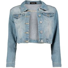 Boohoo Carley Cropped Denim Jacket ($35) ❤ liked on Polyvore featuring outerwear, jackets, leather jacket, jean jacket, denim jacket, waxed cotton jacket and cropped jean jacket