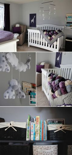 Gorgeous little girl purple nursery makeover! See all the DIY details on how to create a nursery on a budget.