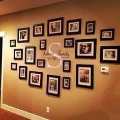 Family Portraits Centered Around Your Monogram Family Picture Walls, Hanging Family Pictures, Family Wall Photos, Picture Wall Living Room, Family Tree With Pictures, Hang Pictures, Wall Decor Pictures, Displaying Photos On Wall, Family Portraits