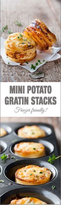 Mini Potato Gratin (Muffin Tin) - great party food, breakfast with eggs or as a side for a fancy dinner. Freezer friendly and easy to make! (Easy Meal To Make For Dinner) Mini Potatoes, Cheesy Potatoes, Party Potatoes, Muffin Tin Potatoes, Purple Potatoes, Russet Potatoes, Healthy Potato Recipes, Sweet Potato Recipes, Cauliflower Recipes