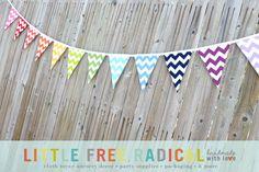 12 Flag Rainbow Chevron Fabric Pennant by LittleFreeRadical, $40.00