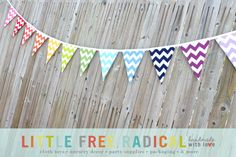 12 Flag Rainbow Chevron Fabric Pennant by LittleFreeRadical, $40.00