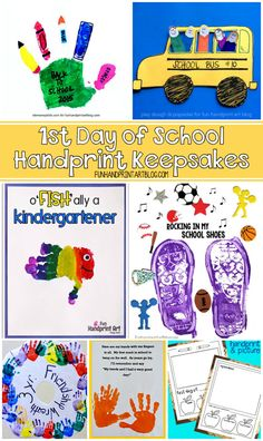 Handprint Craft Keepsakes for the Day of School Kids grow up so fast with the new school year being some of the biggest moments. Check out all these fun Day of school handprint crafts! They also make the sweetest keepsakes to mark their big day(s)! 1st Day Of School, Beginning Of School, Pre School, Back To School, School Kids, School Stuff, Kids Learning Activities, Preschool Crafts, Preschool Activities