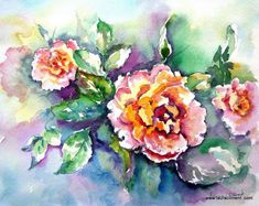 LAURA CLIMENT Pink roses. Watercolor Roses Only, Pink Roses, Floral Wreath, Wreaths, Watercolor, Painting, Decor, Art, Pen And Wash