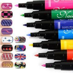 Nail ART PEN Painting Design Tool Drawing FOR UV GEL Polish 12 Colors 12 PCS LOT   eBay