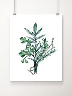 Herb Print Parsley Sage Thyme Rosemary Herb Art by HippieHoppy