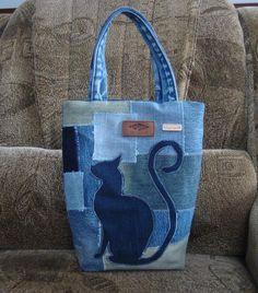 Цена: 300 грн. - Джинсовая сумка кошечка ручная работа Lee Cooper, #8620007, Цвета: Синий, Хаки, Размер: One size. Купить в Шафе недорого