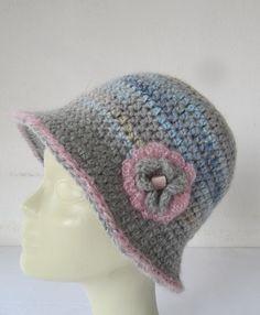 Crochet hat women/Knitted winter hats flower by SEVILSBAZAAR, $25.00