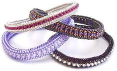 Herringbone Bangle Examples with inclusions between rows ~ Seed Bead Tutorials