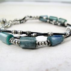 Intertwined Bracelet with Silver & Kyanite by BohBiJewelry on Etsy