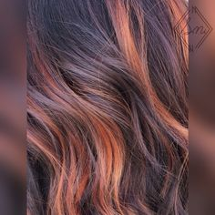 Pumpkin spice fall balayage hair color