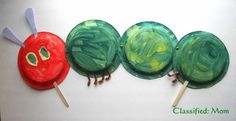 There are so many really cute and clever The Very Hungry Caterpillar Crafts and Activities. This is perfect for Eric Carle Day on March The Very Hungry Caterpillar Activities, Hungry Caterpillar Party, Caterpillar Book, Eric Carle, Paper Plate Crafts, Paper Plates, Art For Kids, Crafts For Kids, Bug Crafts
