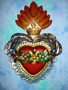 Large Tin Sacred Heart With Tin Ornament Color by CasadeCharms Religious Icons, Religious Art, Cigar Box Crafts, Pattern Texture, Cross Art, Tin Art, Mexican Folk Art, Sacred Art, Heart Art