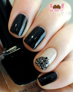 Black Nails with Black and White Textured Nail Polish on Nude Accent Nail