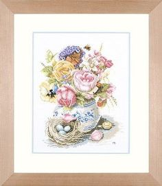 ru / Photo # 1 - On the nest - Cross Stitch Samplers, Cross Stitching, Cross Stitch Embroidery, Cross Stitch Patterns, Cross Stitch Gallery, Heritage Crafts, Marjolein Bastin, Cross Stitch Flowers, Flower Vases