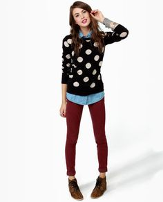 brown ankle boots + maroon skinnies + chambray shirt + dotted sweater