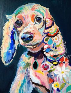 Harly — pet portrait by Starla Michelle 2013 Acrylic on Wood