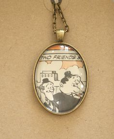 Laurel and Hardy necklace  - two friends - vintage book page pendant