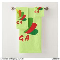 Lotus Flower Yoga. Producto disponible en tienda Zazzle. Product available in Zazzle store. Bath Towel Set. Regalos, Gifts. #bath #towel #set